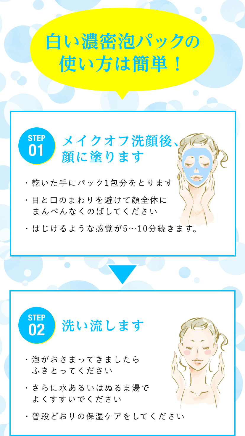 白い濃密泡パックの使い方は簡単!/STEP01  メイクオフ洗顔後、顔に塗ります。・乾いた手にパック1包分をとります・目と口のまわりを避けて顔全体にまんべんなくのばしてください・はじけるような感覚が5〜10分続きます。/STEP02  洗い流します。・泡がおさまってきましたらふきとってください・さらに水あるいはぬるま湯でよくすすいでください・普段どおりの保湿ケアをしてください